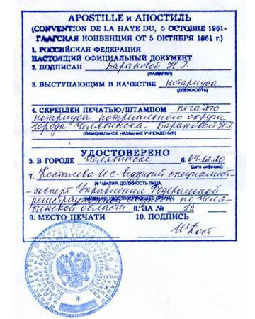 Apostille and legalization in Russia